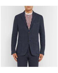 Boglioli Blue Navy Unstructured Linen Suit Jacket for men