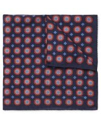 Anderson & Sheppard - Blue Printed Wool Pocket Square for Men - Lyst