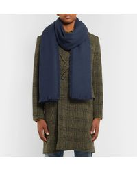 Mr P. - Blue Fringed Wool And Cashmere-blend Scarf for Men - Lyst