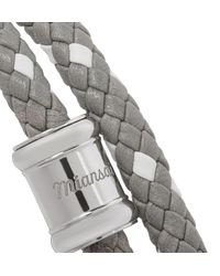 Miansai - Metallic Double Casing Woven Leather Stainless Steel Bracelet for Men - Lyst