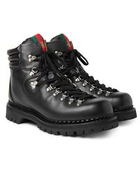 Gucci - Black Tracker Leather Boots for Men - Lyst