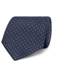Hackett - Blue 8cm Pin-dot Silk And Linen-blend Tie for Men - Lyst