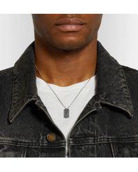 Saint Laurent - Metallic Logo-debossed Burnished Silver-tone Necklace for Men - Lyst