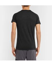 Falke - Black Mélange Wool And Silk-blend Running T-shirt for Men - Lyst