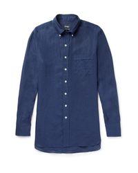 Drake's - Blue Button-down Collar Linen Shirt for Men - Lyst