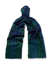 Anderson & Sheppard - Blue Checked Cashmere Scarf for Men - Lyst