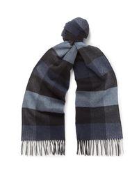 Ermenegildo Zegna | Blue Checked Silk Scarf for Men | Lyst
