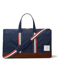 Thom Browne - Blue Suede And Grosgrain-trimmed Canvas Duffle Bag for Men - Lyst