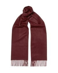 Johnstons - Red Cashmere Scarf for Men - Lyst