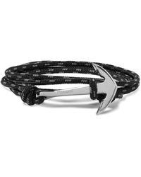 Miansai - Black Anchor Cord Silver-plated Wrap Bracelet for Men - Lyst