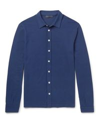 Thom Sweeney - Blue Slim-fit Cotton-jersey Shirt for Men - Lyst