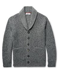 Brunello Cucinelli | Gray Shawl-collar Ribbed Mélange Cashmere Cardigan for Men | Lyst