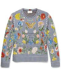 Gucci | Multicolor Floral-embroidered Gingham Neoprene Sweatshirt for Men | Lyst