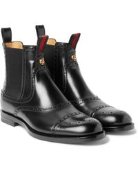 Gucci   Black Polished-leather Chelsea Brogue Boots for Men   Lyst