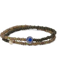 Luis Morais - Metallic Glass Bead, Sapphire And Gold Wrap Bracelet for Men - Lyst