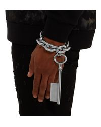 Givenchy | Metallic Silver-tone Oversized Key Bracelet for Men | Lyst