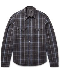 Aspesi | Gray Reversible Thermore-padded Flannel And Shell Shirt Jacket for Men | Lyst