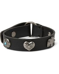 Valentino | Black Leather And Silver-tone Bracelet for Men | Lyst