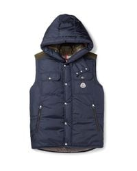Moncler - Blue Anis Quilted Shell Hooded Down Gilet for Men - Lyst