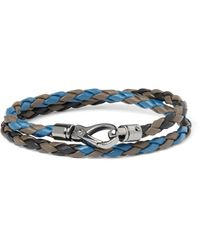 Tod's | Blue Scooby Braided Leather Wrap Bracelet for Men | Lyst