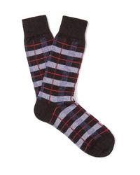 Anonymous Ism | Black Checked Wool-blend Socks for Men | Lyst