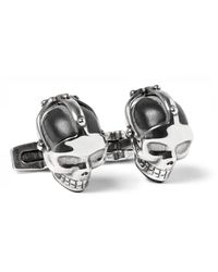 Alexander McQueen   Metallic Skull Burnished Silver-tone Enamel Cufflinks   Lyst