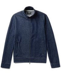 Todd Snyder | Blue Cotton-blend Jersey Zip-up Sweatshirt for Men | Lyst
