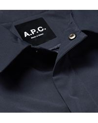 A.P.C. - Blue Saul Appliquéd Water-repellent Gabardine Coach Jacket for Men - Lyst