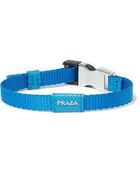 Prada | Blue Saffiano Leather-trimmed Webbing Bracelet for Men | Lyst