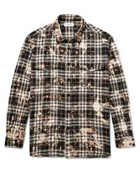 7894acd8e8 Lyst - Saint Laurent Oversized Bleached Checked Stretch-cotton ...