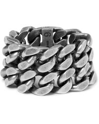 Saint Laurent | Metallic Burnished Silver-tone Ring for Men | Lyst