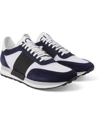 Moncler | Blue Horace Suede And Mesh Sneakers for Men | Lyst
