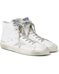 Golden Goose Deluxe Brand   White Francy Distressed Leather And Suede High-top Sneakers for Men   Lyst