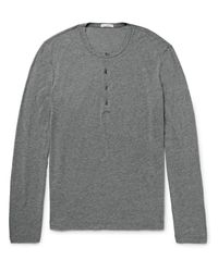 James Perse | Gray Slim-fit Mélange Cotton And Linen-blend Henley T-shirt for Men | Lyst