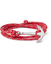 Miansai | Red Anchor Cord Silver-plated Wrap Bracelet for Men | Lyst