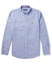 Polo Ralph Lauren | Blue Slim-fit Button-down Collar Checked Cotton Oxford Shirt for Men | Lyst