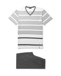 Hanro | White Striped Mercerised Cotton-jersey Pyjama Set for Men | Lyst