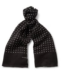 Polo Ralph Lauren   Black Polka-dot Linen And Cotton-blend Scarf for Men   Lyst