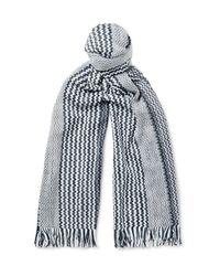 Missoni | Blue Patterned Cotton Scarf for Men | Lyst