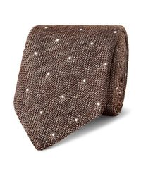 Richard James | Brown 8cm Polka Dot-embroidered Silk-délavé Tie for Men | Lyst