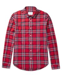Sandro | Red Checked Cotton-flannel Shirt for Men | Lyst