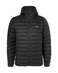 Patagonia - Black Quilted Dwr-coated Ripstop Shell Hooded Down Jacket for Men - Lyst