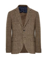 Mp Massimo Piombo | Brown Slim-fit Prince Of Wales Checked Slub Wool-blend Blazer for Men | Lyst