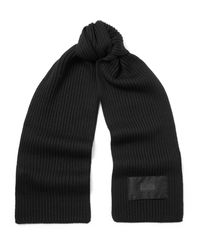 Prada - Black Logo-appliquéd Ribbed Virgin Wool Scarf for Men - Lyst