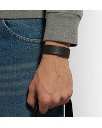 Maison Margiela - Black Leather And Silver-tone Bracelet for Men - Lyst
