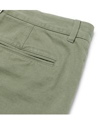 Officine Generale - Green Oliver Slim-fit Selvedge Cotton-twill Chinos for Men - Lyst