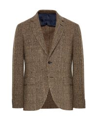 Mp Massimo Piombo - Brown Slim-fit Prince Of Wales Checked Slub Wool-blend Blazer for Men - Lyst
