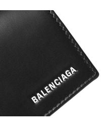 Balenciaga - Black Logo-print Leather Cardholder for Men - Lyst
