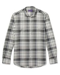 Ralph Lauren Purple Label - Gray Stewart Checked Cotton And Cashmere-blend Shirt for Men - Lyst
