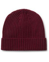Officine Generale | Red Ribbed Merino Wool Beanie for Men | Lyst